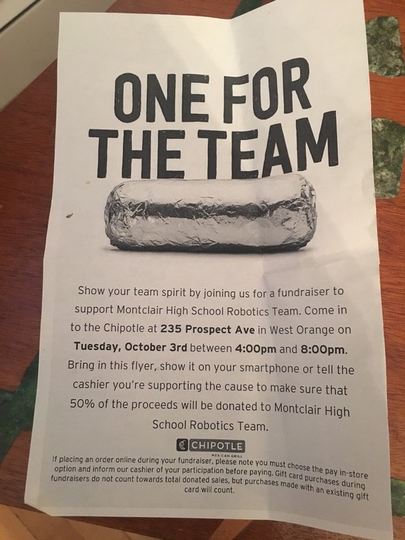 Print this flyer/coupon or show to the cashier at Chipotle.