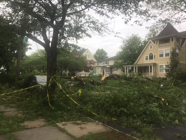 Many streets are closed due to fallen trees and downed wires.