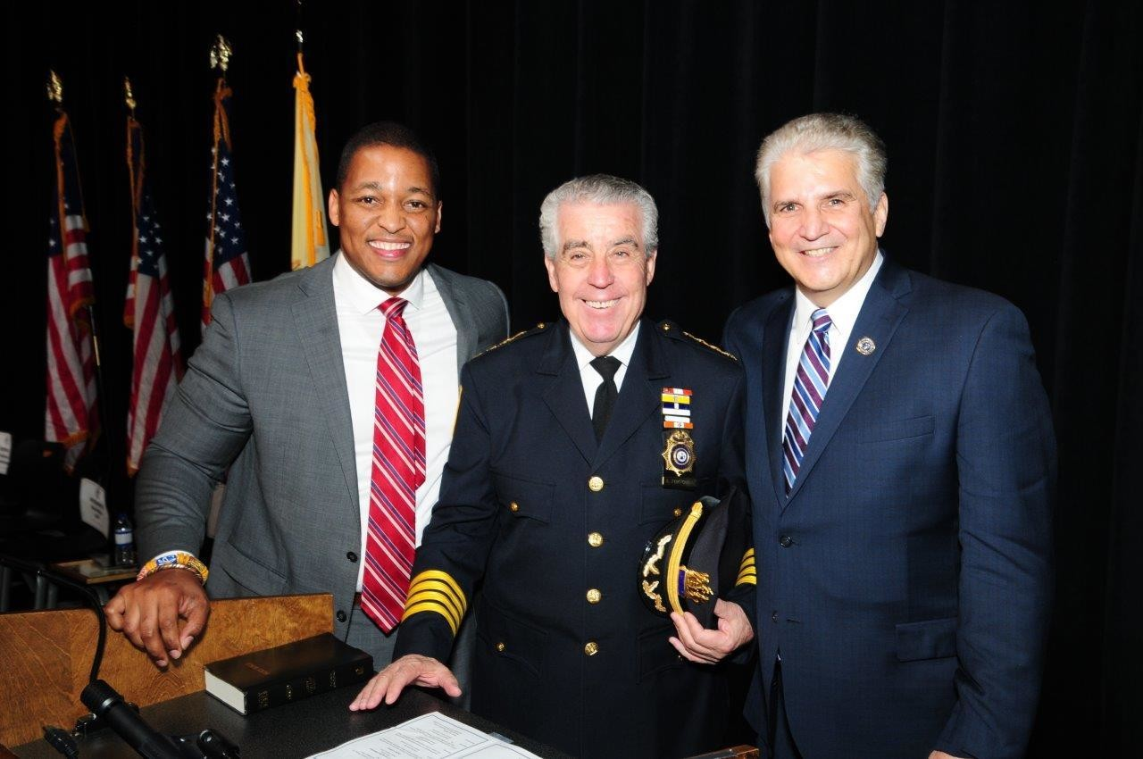 Essex County Surrogate Alturrick Kenney, Essex County Sheriff Armando Fontoura and Essex County Executive Joseph N. DiVincenzo, Jr., were sworn into office during an afternoon inauguration ceremony in the Essex County Donald M. Payne, Sr. School of Technology on Wednesday, January 2nd. DiVincenzo was sworn into his fifth term as Executive, Fontoura was sworn into his ninth term as Sheriff and Kenney was sworn into his first term as Surrogate. (Photo by Glen Frieson)