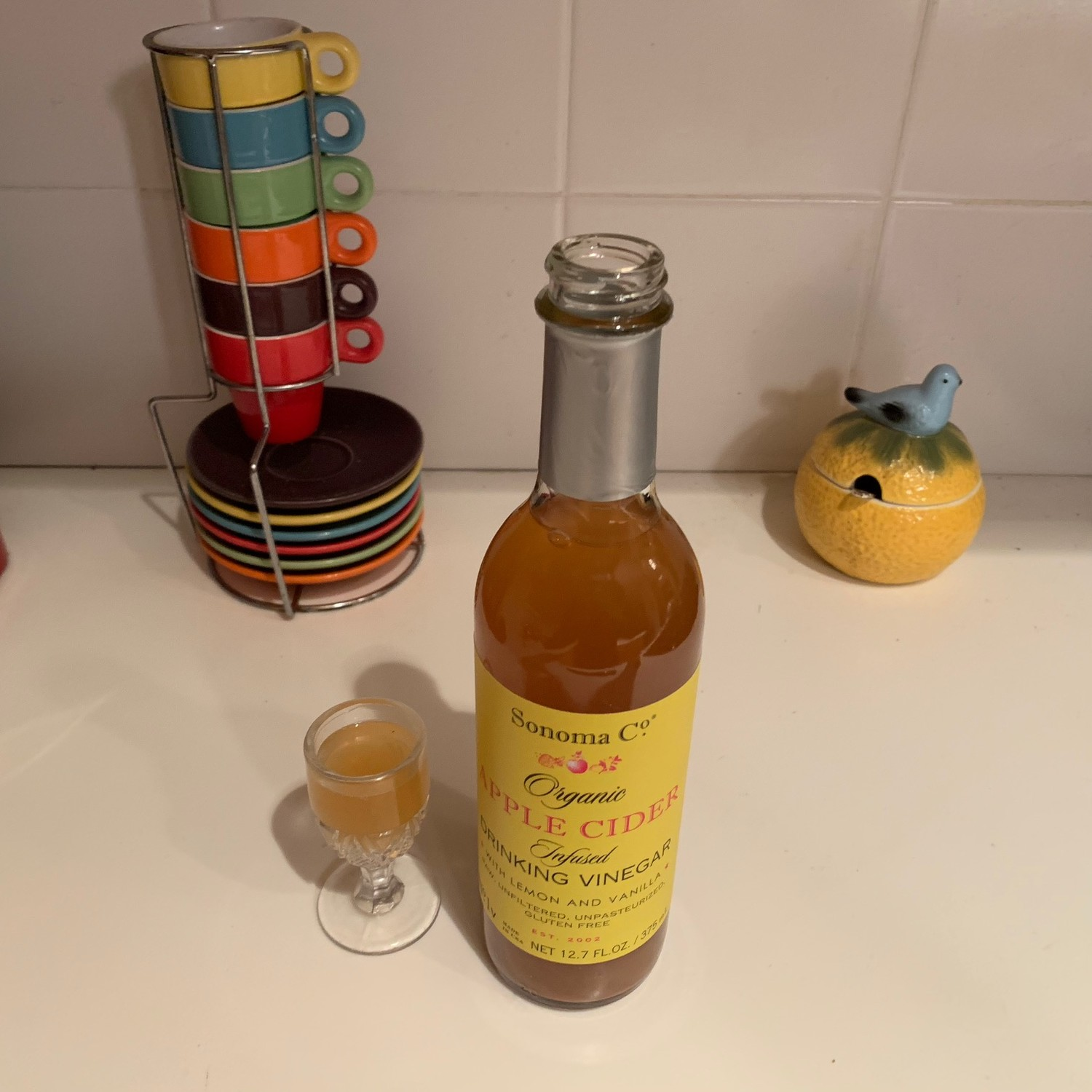 A shot of this infused drinking vinegar goes a long way - but add it to your favorite cocktail or detox drink to enjoy!