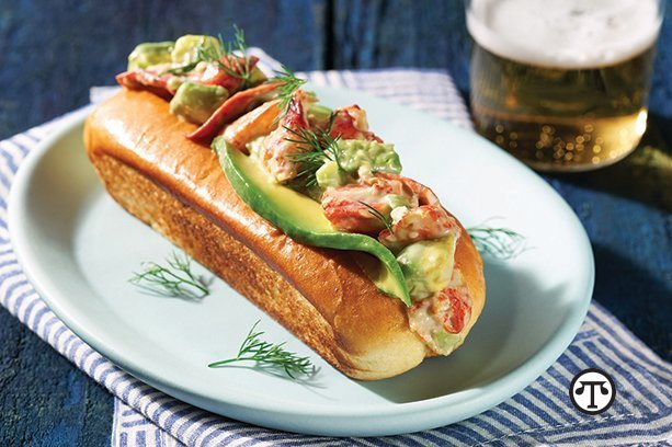 A tasty, toasty avocado and lobster roll makes for a meal that seems like sunshine.