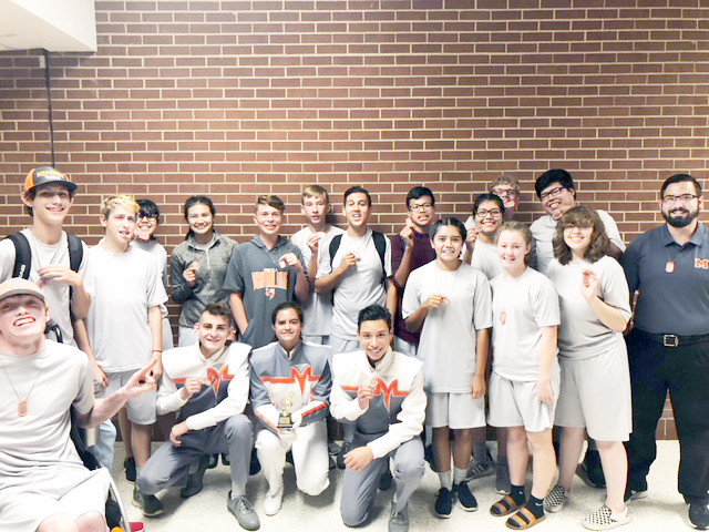 "The Mineola High School Drumline took outstanding 3A drumline at a competition in Wills Point on Sept. 22.  The group performed their 2018 show titled ""Total Eclipse,"" featuring the music The Rolling Stones, Beethoven, and Soundgarden. Musical selections included Moonlight Sonata, Black Hole Sun, and Paint it Black. (Courtesy photo)."