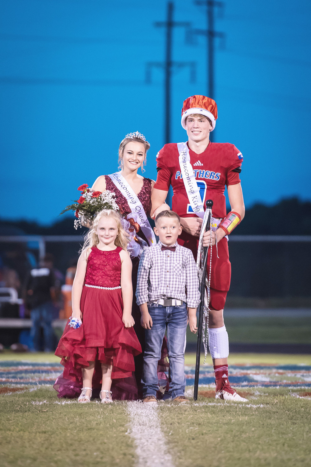 Alba-Golden named Macie Pendergrass as Homecoming Queen and Zane Smith King at Friday's homecoming activities. Emma Bohannon and Hogan Webster served as flower girl and crown-bearer.