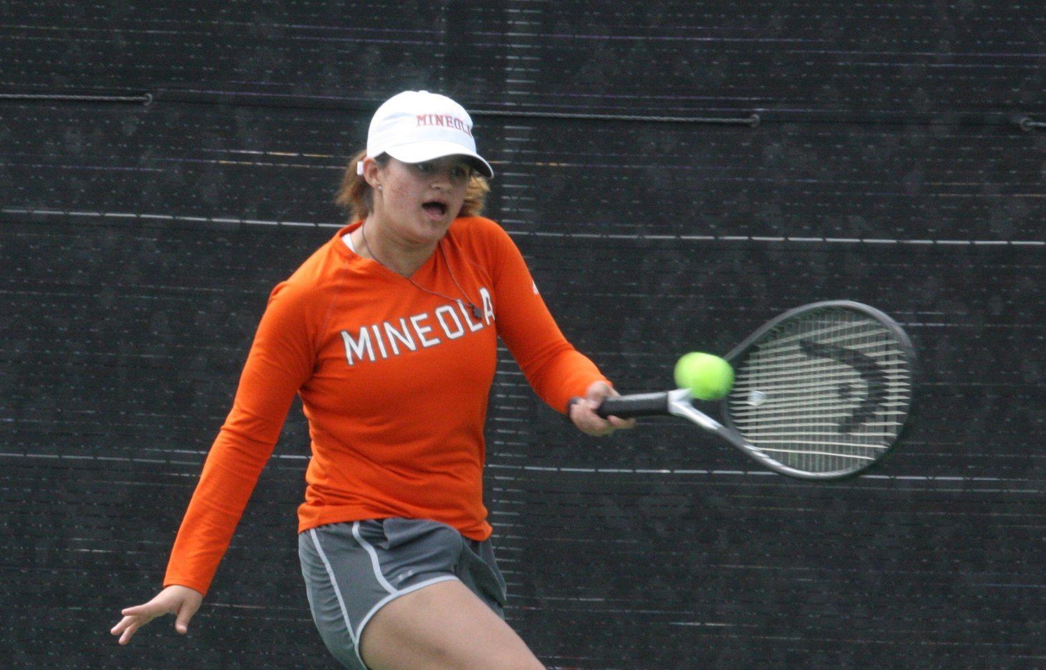 Mineola's Bree Williams and Edgewood's Esther Barker went head-to-head at the District 12-3A Tennis Tournament April 3 in Edgewood.