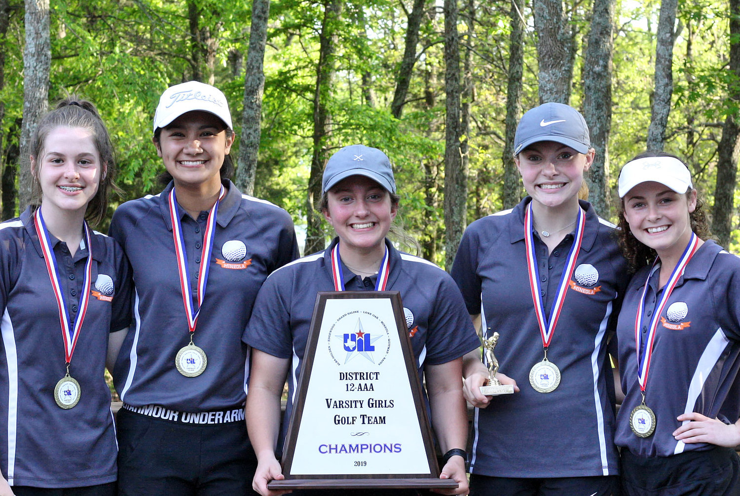 Mineola's 2019 District 12-3A girls golf championship team.  From left are Makayla Mahlstadt, Valerie Garcia, Melea Bedford, Ava Johnson and Sunni Ruffin.