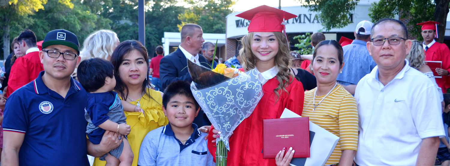 Alba-Golden graduate Sopheakpronith Sorn and her family, Kuy, Sophea, Jayden, Tommy, Jason and Sann.