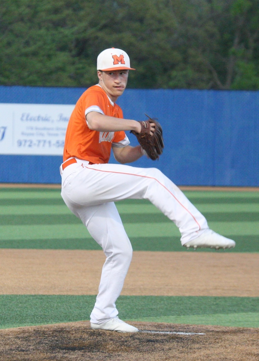 Mineola's Cole Castleberry fires a pitch last spring for the Yellowjackets. He threw a perfect game on June 1 in the opening game of the American Sporting events (ASE) summer baseball season. (Monitor file photo)