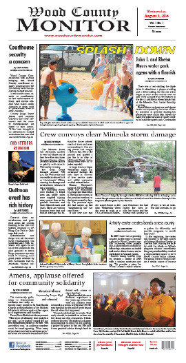 The front page of the first edition of the Wood County Monitor from Aug. 3, 2017.