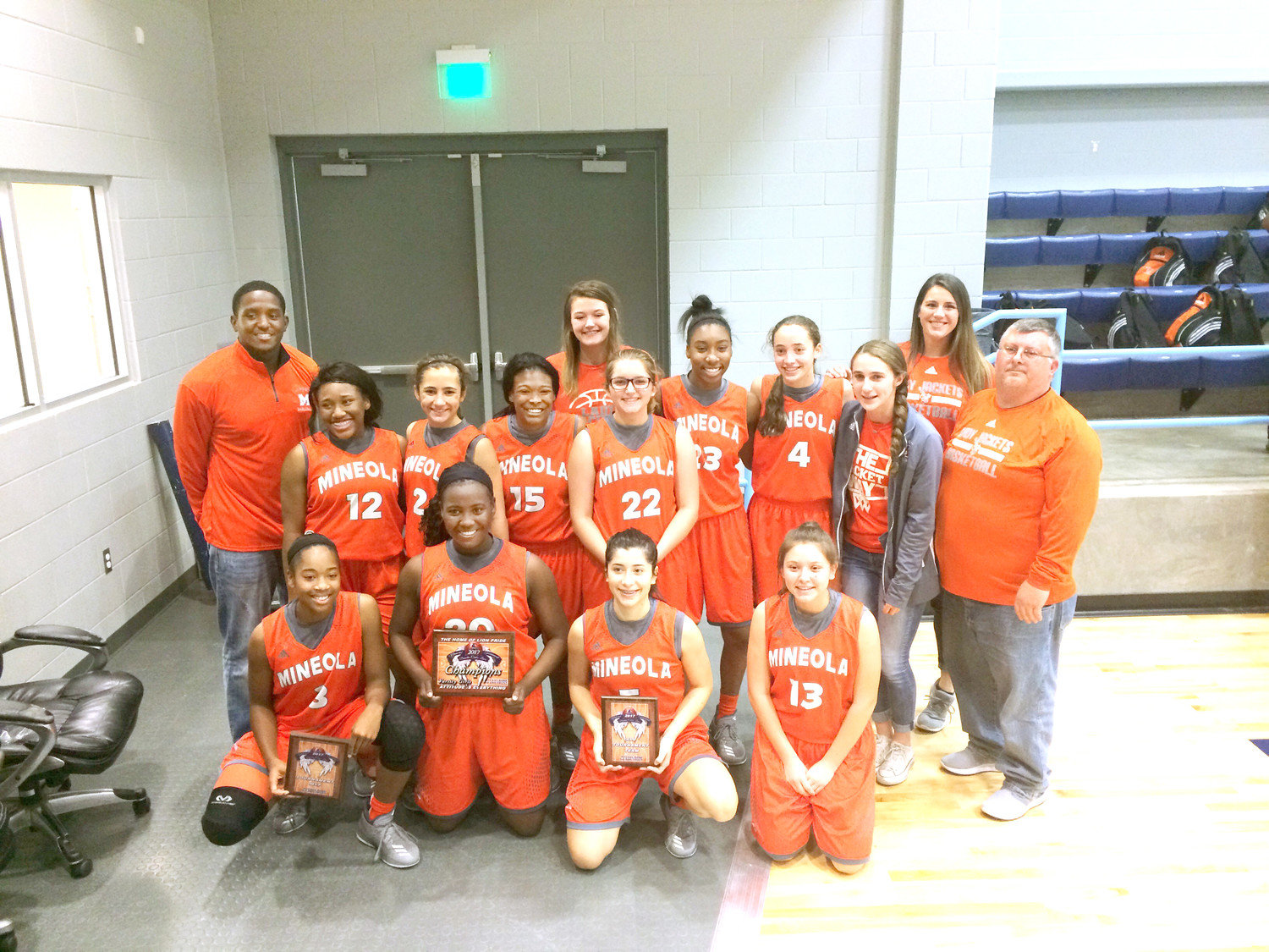 The Mineola Lady Jackets after winning the Union Grove Girls Varsity Tournament.
