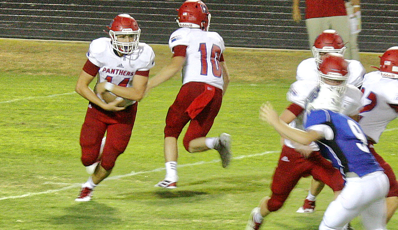 Alba-Golden running back Jon-Michael Chadwick takes the ball through the right side in Friday's action against Hawkins.