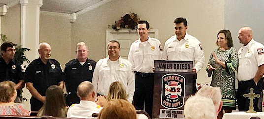 Junior Ortega and the Mineola Fire Department were honored as part of the Sept. 1 services at New Hope Baptist Church. All first responders were honored during the service.
