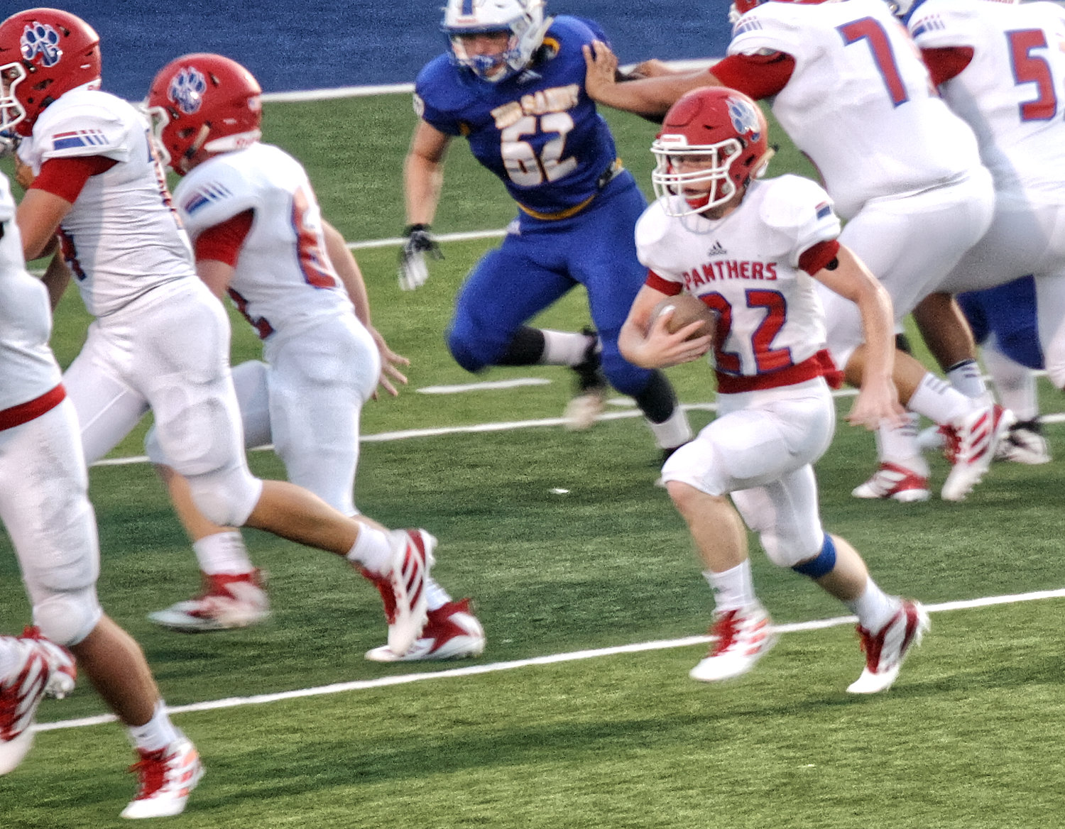 Panther Austin Hartley carries in action against Big Sandy.