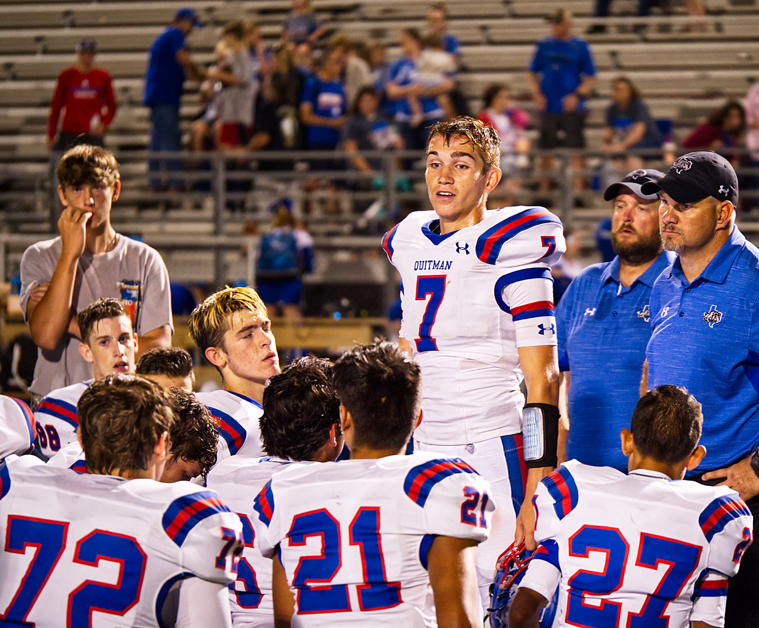 Ben Burroughs, 7, of Quitman addresses his teammates after Friday's loss.