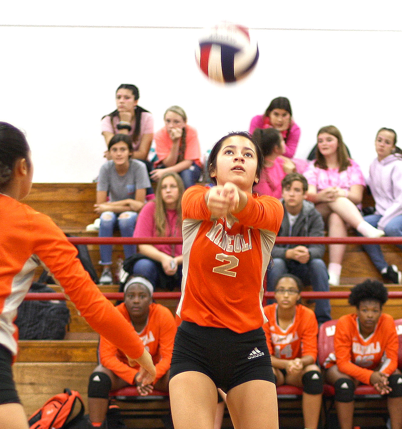 Mineola's Sofia Lopez makes a play on the ball in action against Alba-Golden last Friday.