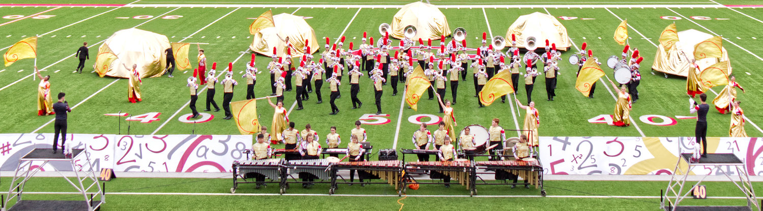 The Winnsboro High School marching band performs at Saturday's area competition in Carthage. They made the finals and placed sixth, missing a trip to state by one spot.