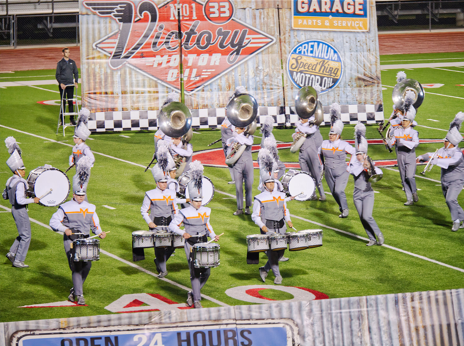 The Mineola band performs during the Class 3A Area C marching competition's finals held in Carthage on Saturday evening.