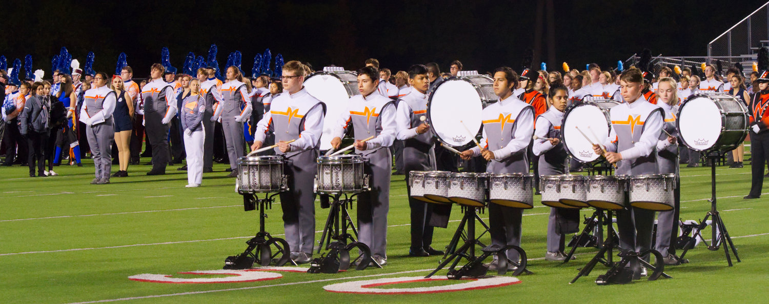 The Swarm's drumline had the honor of playing the bands in with a cadence, as all ten finalists marched on the field to learn their fate Saturday evening in Carthage.