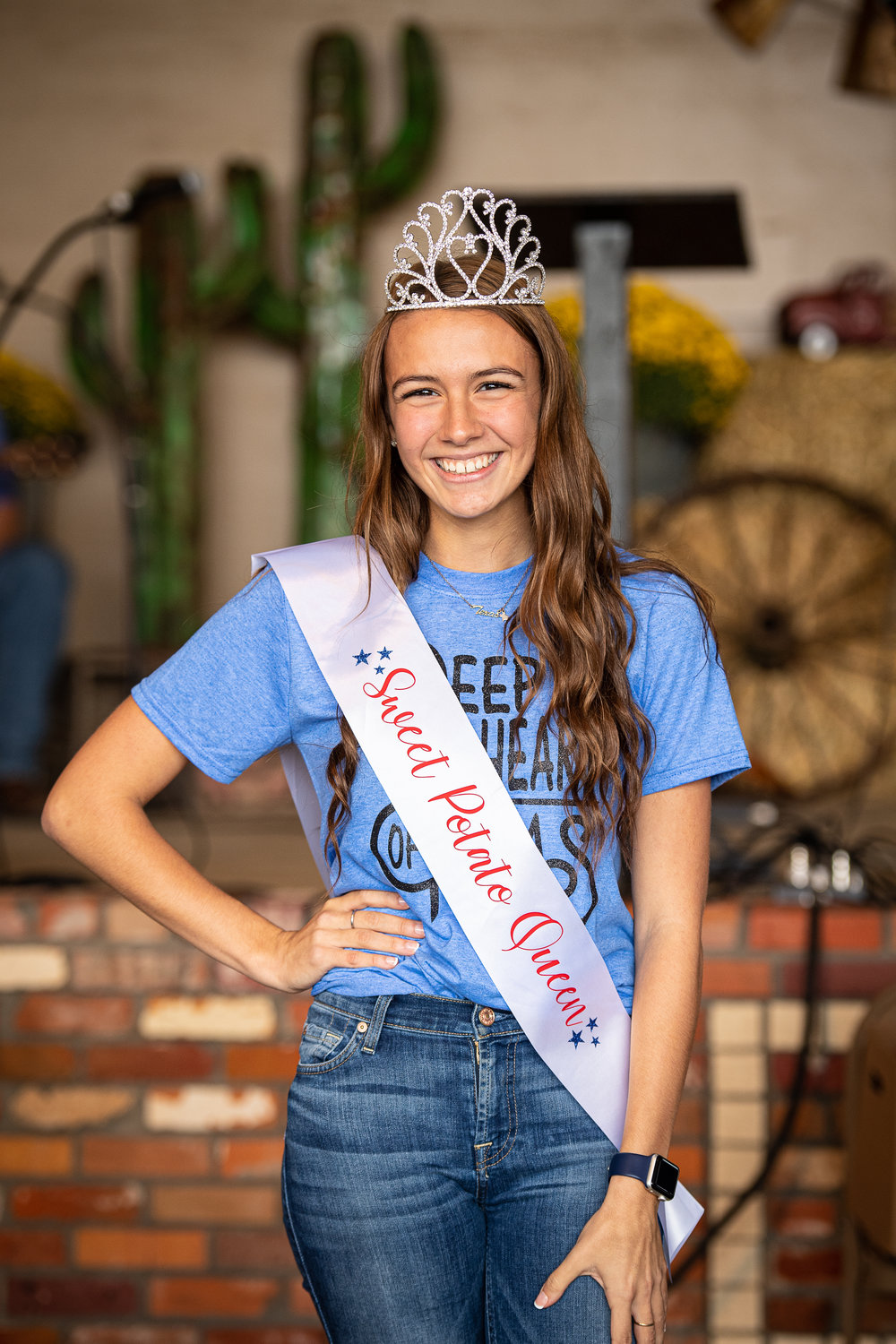 Justina Peterson, senior at Alba-Golden, was named the Sweet Potato Queen Saturday at the annual festival in Golden.