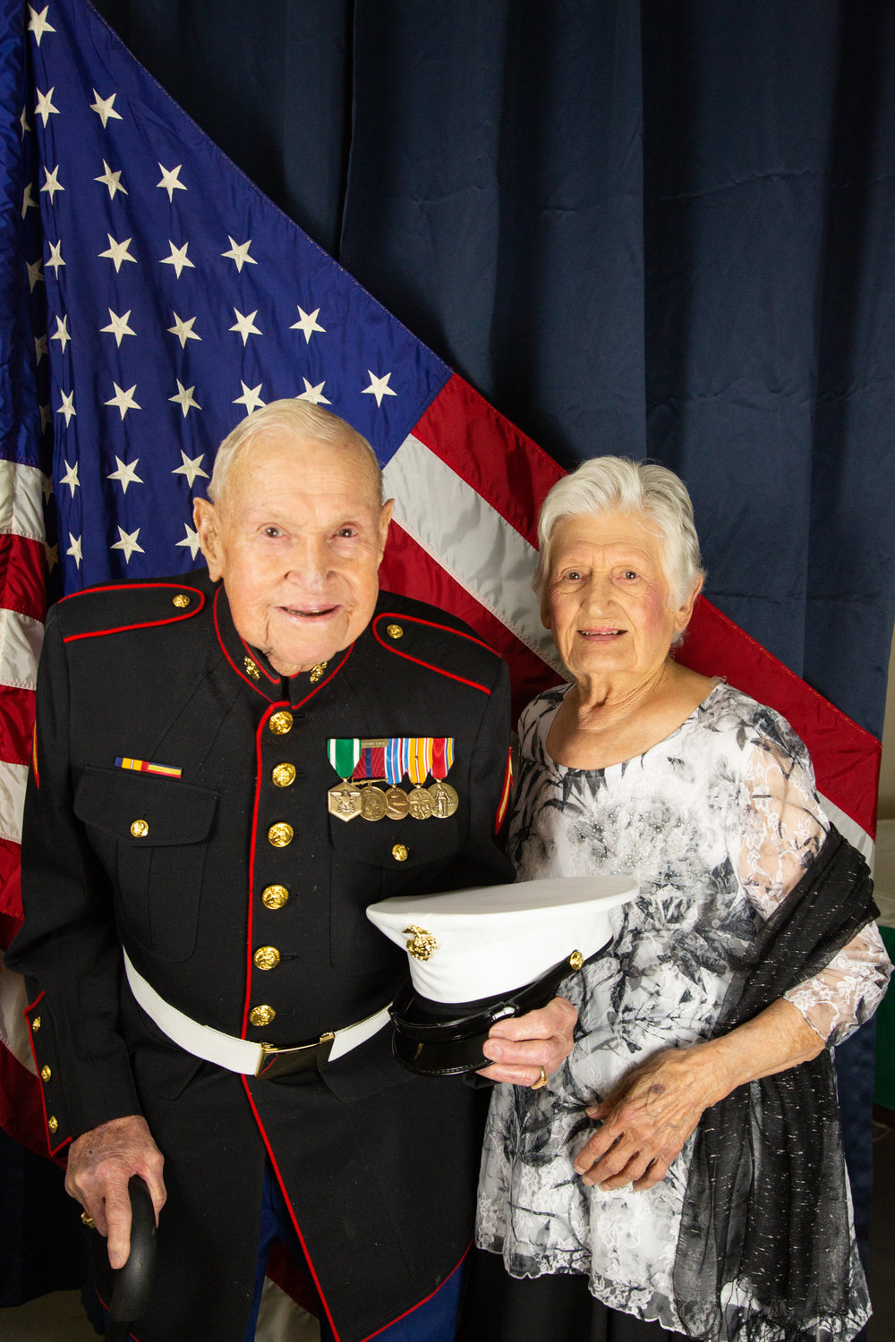 Private First Class James Krodel and his wife Mary Krodel. Krodel fought in Japan during World War Two as part of the 3rd Marine Division. He was nearby when the 5th Marine Division raised the flag on Mount Suribachi during the bloody battle of Iwo Jima.