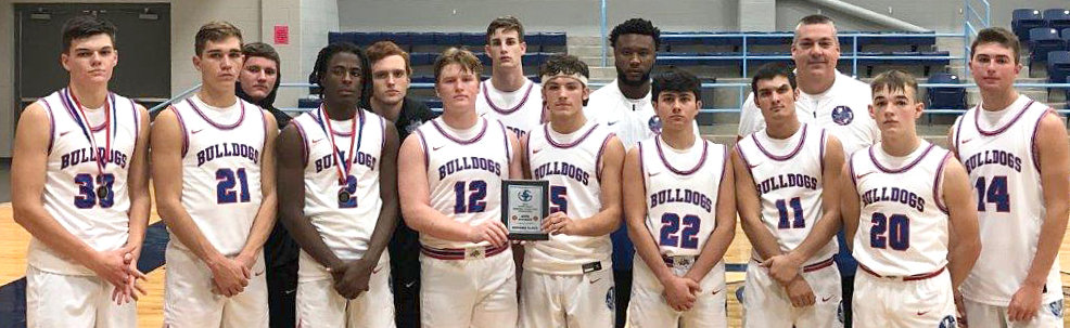 The Quitman Bulldogs were runner-up at the Union Grove Tournament last weekend. They are (back, left to right) Chris Chabaud, Hunter Gilbreath, Rylie Flanagan, Coach Brandon Fields and Head Coach Jim Reid; (bottom, left to right) Jace Reid, Ben Burroughs, Trey Berry, Cody Hawley, River Chaney, Hayden Cook, Ty Holland, Ford Tannebaum and Aiden Corrior.