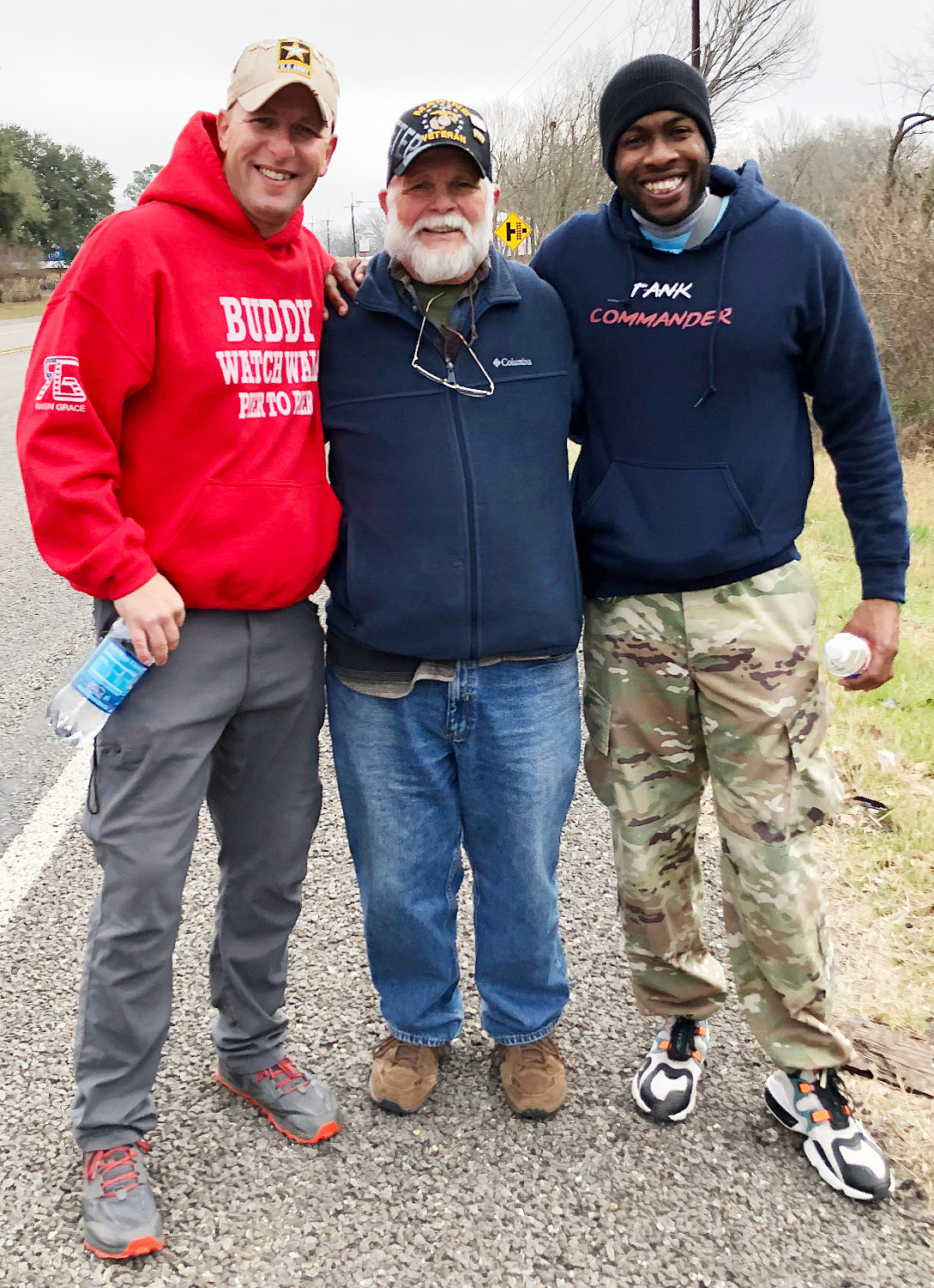 U.S. Marine Vietnam Veteran Jim Bailey joined John Ring and Jimmy Mathews of Buddy Watch Walk on their walk from Mineola to Grand Saline.