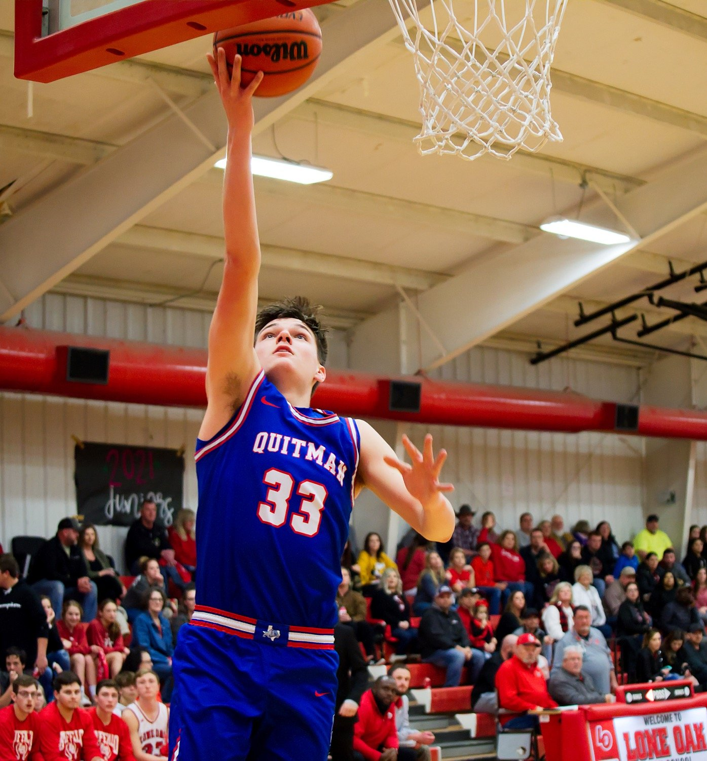 District 12-3A offensive player of the year Jace Reid lays it in for two points.