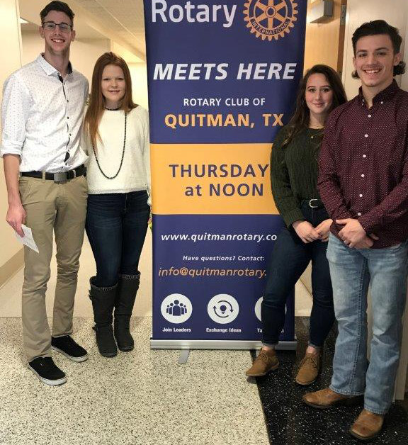 Quitman Rotary Club students of the month are, left to right, Rylie Flanagan and Shelby Hayes for December and Jaci Coley and River Chaney for January.