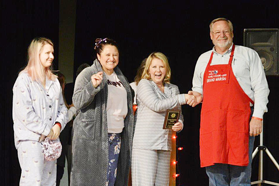 Members from Sophie and Rose in Quitman received the Grand Marshal's Award at Friday's Quitman Pilot Club Chili Cook-Off. JR Douglas and his crew took first place in the People's Choice award. Angela Albers and crew won the trophy for first place for Best Chili in the blind taste competition. Speakeasy Coffee House won the showmanship trophy.