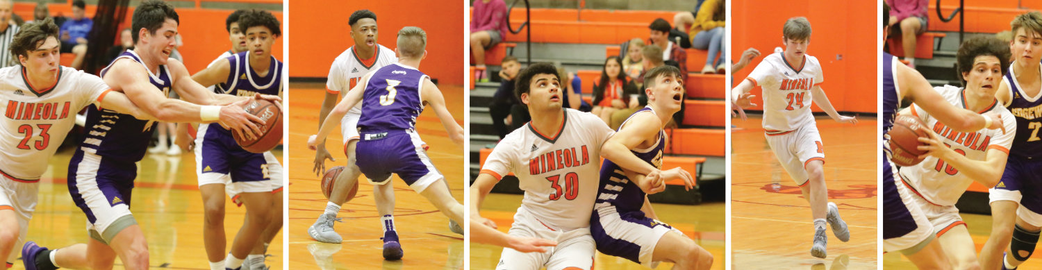 Mineola seniors in action, from left, Wylie Franks, De'Vontae Stephens, Kaleb Griffin, Colt Marlow and Kelby Bruner.