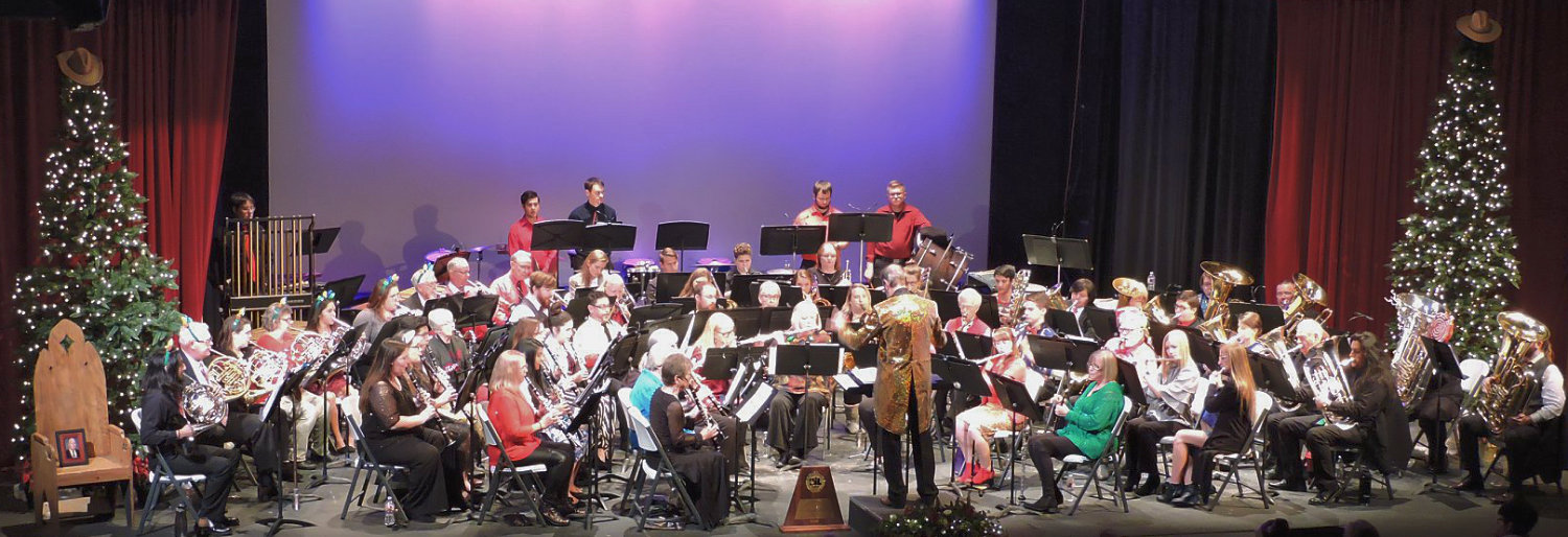 The Lake Country Symphonic Band during its holiday concert at the Select Theater in Mineola.