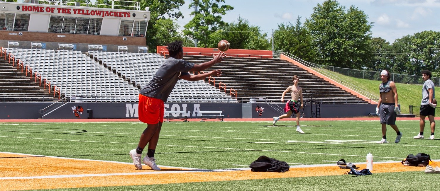 Thomas Hooten throws to Montrell Williams at Meredith Memorial Stadium during an informal workout. The Mineola players will be able to resume formal workouts June 8 after all school-related athletics were shut down in March by the coronavirus.