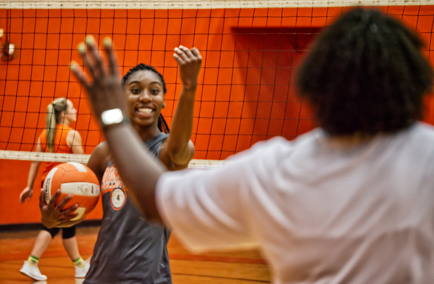Mineola volleyball player Tahjae Black confirms she understands coach TaShara Everett.