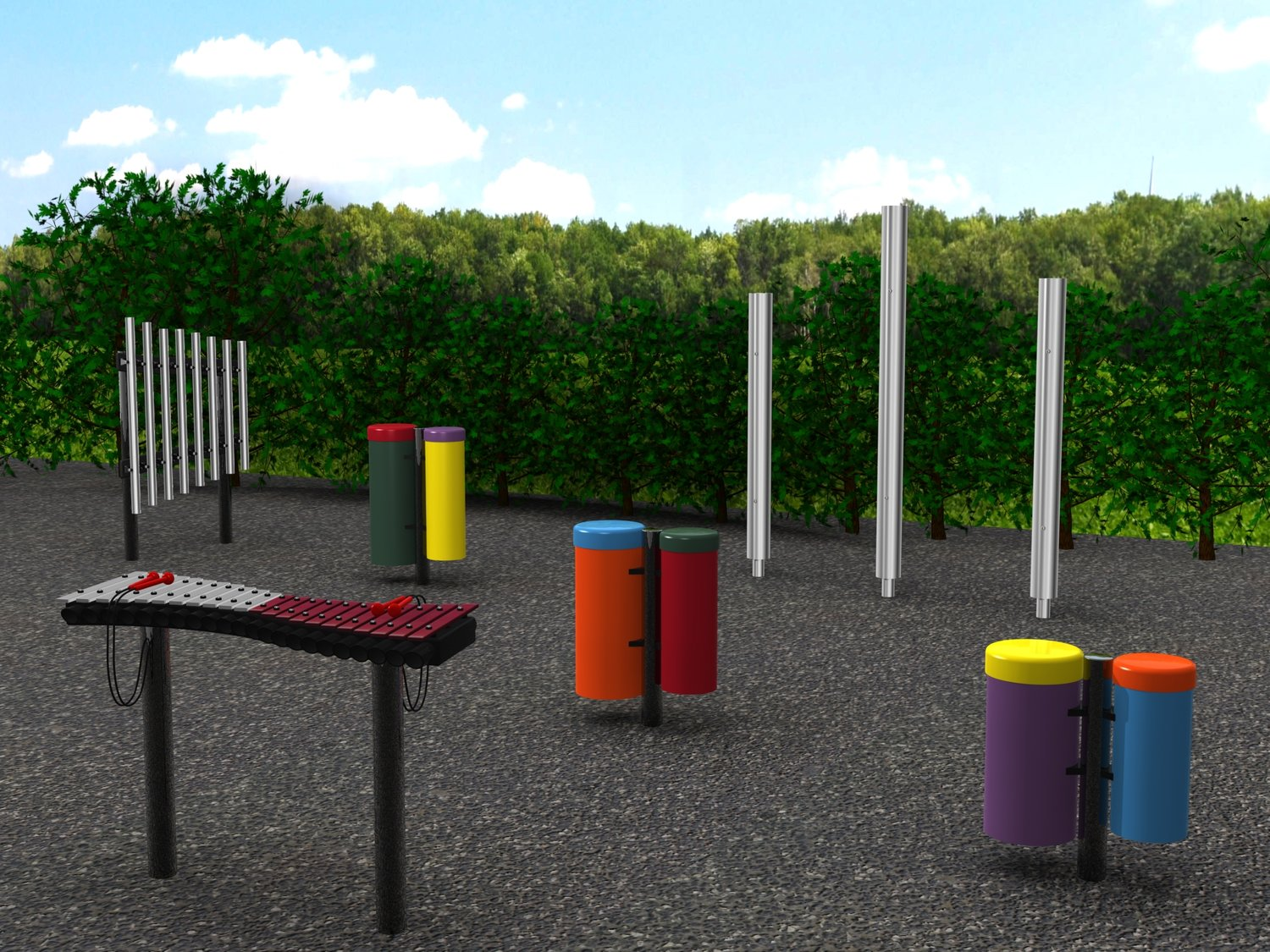 Outdoor musical instruments like the ones planned for the Quitman city park.