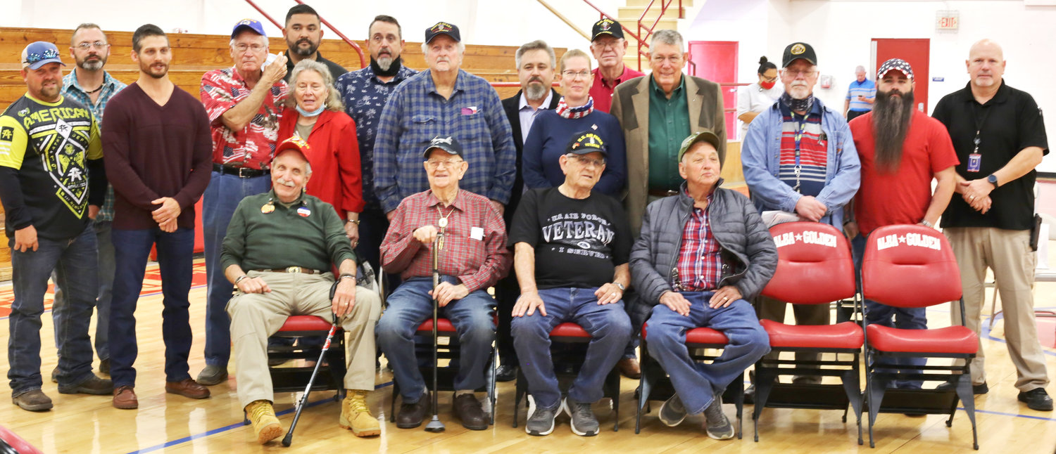 Local veterans shared in the Veterans Day program at Alba-Golden Schools last week. (Monitor photo by John Arbter)