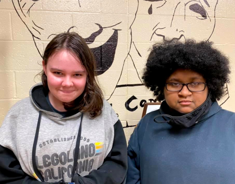 Mineola High School students Lindsey Harris, left, and Miniya Rodriguez have advanced to the state theatrical design contest.