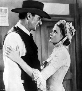 """Gary Cooper and Grace Kelly in a scene from """"High Noon."""""""