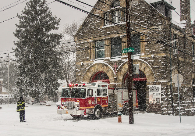 """""""First Responders in Snow, Highland Avenue Fire House,"""" by Steve, was an honorable mention winner in the Chestnut Hill Community Association 2015 Calendar Contest. This photo is on the January page of the calendar."""