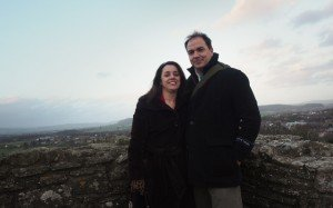 Steve Feistel and his companion, Julie, are seen last year at a castle in England.