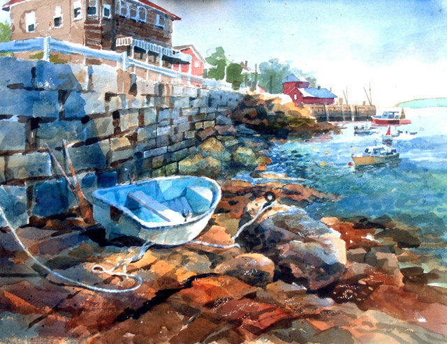 "Who wouldn't want to spend some relaxing time at ""Stonington Harbor,"" brought to life colorfully by Letven in this 18"" by 24"" watercolor landscape?"