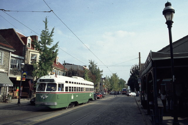 The Route 23 trolley in Chestnut Hill.