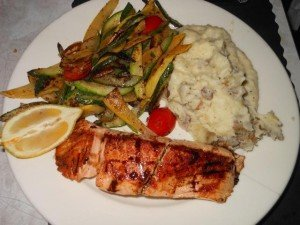 The balsamic glazed salmon with ranch mashed potatoes and zucchini/squash/tomato medley at the Blue Comet in Glenside.