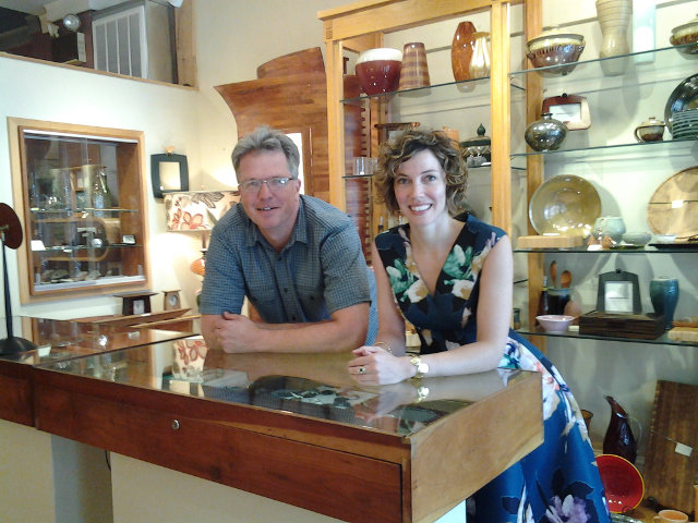 Owner Caleb Meyer and gallery manager Stephanie Richards.