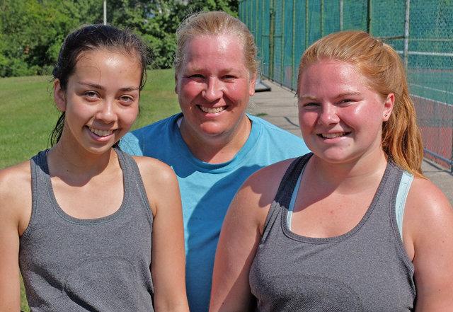 New Mount St. Joseph Academy tennis coach Joy Grafenstine (center) and her 2015 co-captains, Sophia Gardell (left) and Katie O'Sullivan. (Photo by Tom Utescher)