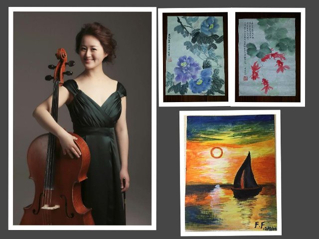 Fang Fang, who was a professional cello player with one of China's top orchestras, recently began teaching with the Chestnut Hill Music Academy. Also a talented painter who likes both traditional Chinese painting and European oil painting, Fang is seen here with some of her own artworks.