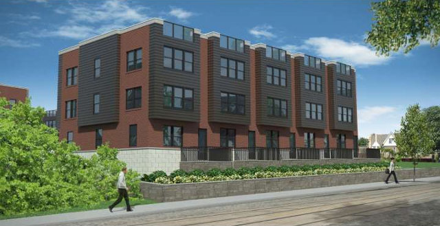 An architect's rendering of the condos planned for the site where the historic Garrett-Dun house once stood at 7048 Germantown Ave. in Mt.Airy.