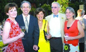 Chestnut Hill resident, Ralph Hirshorn (2nd from right), is a former Oscar voter. A former movie producer himself, Ralph is seen here with (from left) Nancy Evans, Jon Crane, Susan Crane and Ralph's wife, Natalie, on June 11, 2010, at Morris Arboretum's annual Moonlight & Roses event. (Photo by Susan Scovill)