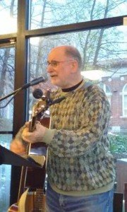 Art Miron of Mt. Airy was one of eight local musicians to perform in the Phil Ochs tribute at Malelani Café in Mt. Airy on April 9. (Photo by Stacia Friedman)