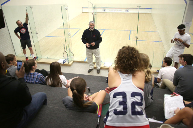Coach Paul Assaiante speaks to students at Springside Chestnut Hill Academy.