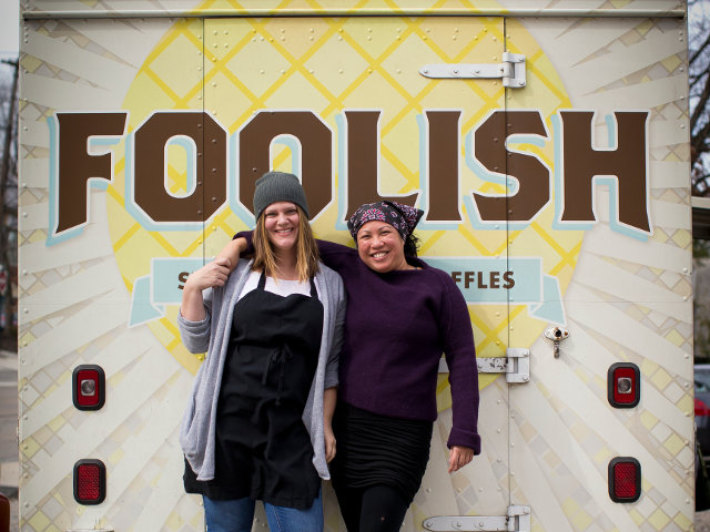 Foolish Waffle maidens, Robin and Flo, are not foolish when it comes to creating waffle dishes. (Photo by Ryan S. Brandenberg/ Temple University)