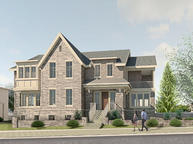 An architect's rendering of the proposed two-story structure to be built at 2 E. Chestnut Hill Ave.